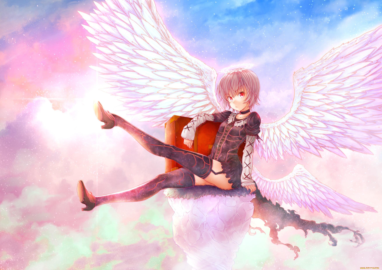 аниме, ангелы,  демоны, puma, hyuma1219, арт, девушка, крылья, ангел